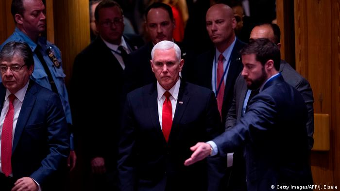 Mike Pence arrives to UN Security Council meeting on Venezuela (Getty Images/AFP/J. Eisele)