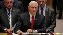 10.04.2019 *** U.S. Vice President Mike Pence addresses the United Nations Security Council at U.N. headquarters in New York, U.S, April 10, 2019. REUTERS/Brendan McDermid