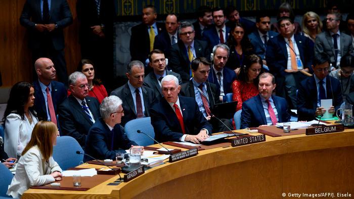 UN-Sicherheitsrat in New York, Sitzung zu Venezuela | Mike Pence, Vizepräsident USA (Getty Images/AFP/J. Eisele)