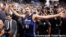 Apr 10, 2019; San Antonio, TX, USA; Dallas Mavericks power forward Dirk Nowitzki (41) high fives the fans while leaving the court after the game against the San Antonio Spurs at AT&T Center. Mandatory Credit: Soobum Im-USA TODAY Sports