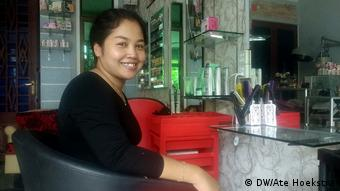Sokunthea at her salon in a Phnom Penh suburb