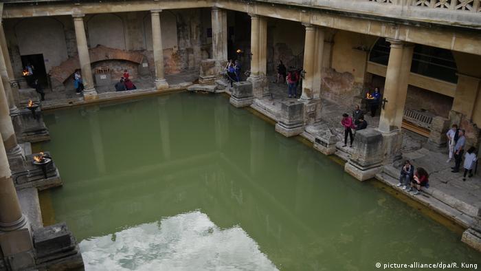 The Great Bath, at the Roman Baths in Bath, England