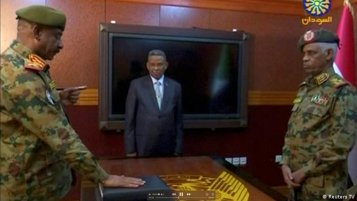 Lt. Gen. Kamal Abdul Murof Al-mahi is sworn in as deputy head of Sudan's Military Transitional Council (Reuters TV)