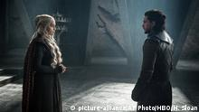 This photo provided by HBO shows Emilia Clarke as Daenerys Targaryen and Kit Harington as Jon Snow in a scene from HBO's Game of Thrones. The final season premieres on Sunday. (Helen Sloan/Courtesy of HBO via AP) |
