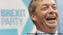 Former U.K. Independence Party leader and MEP Nigel Farage speaks during the launch of the Brexit Party's European election campaign, in Coventry, England, Friday, April 12, 2019. Farage said Friday that delays to Brexit were a willful betrayal of the greatest democratic exercise in the history of this nation. (AP Photo/Rui Vieira) |