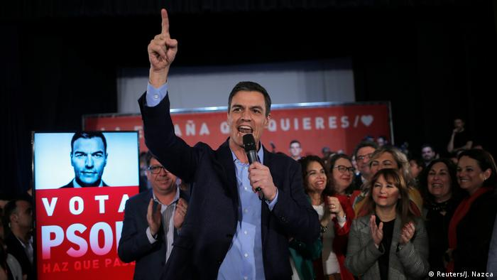 Spanish PM Pedro Sanchez at an election campaign event