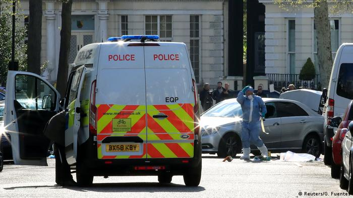 Police van outside Ukrainian embassy in London