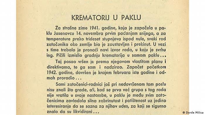 Iz knjige U mučilištu - paklu Jasenovac Đorđa Miliše