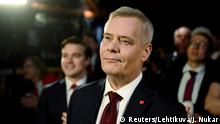 Chairman of the Finnish Social Democratic Party Antti Rinne attends the election party in Helsinki, Finland April 14, 2019. Lehtikuva/Antti Aimo-Koivisto via REUTERS ATTENTION EDITORS - THIS IMAGE WAS PROVIDED BY A THIRD PARTY. NO THIRD PARTY SALES. NOT FOR USE BY REUTERS THIRD PARTY DISTRIBUTORS. FINLAND OUT.