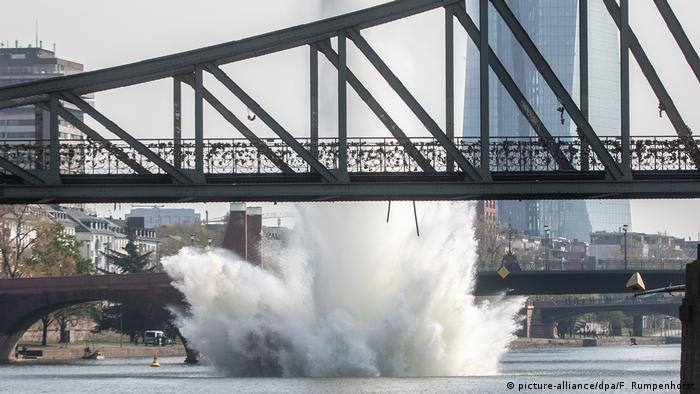 The bomb being exploded in the Main River at Frankfurt