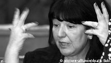 Mira Markovic gestures during a session at the Yugoslav parliament, Tuesday 28 November 2000 in Belgrade. Markovic made her first public appearance Tuesday since her husband was ousted from power following September 24 elections. dpa |