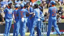 Mohammad Shami celebrates wicket of Colin Munro of New Zealand during the 3rd ODI New Zealand vs INDIA at the Bay Oval, Tauranga. New Zealand. Saturday 28 January 2019 Photo By Surjeet Yadav/IANS