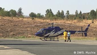 Äthiopien, Feuerlösch-Hubschrauber im Semien-Gebirgsparks