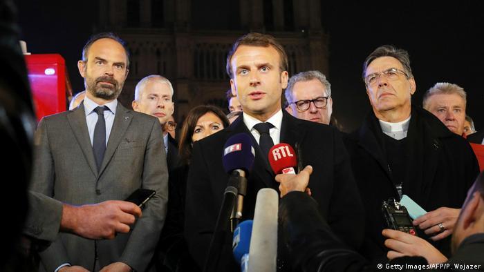 Frankreich, Paris: Brand in der Kathedrale Notre Dame - Emmanuel Macron