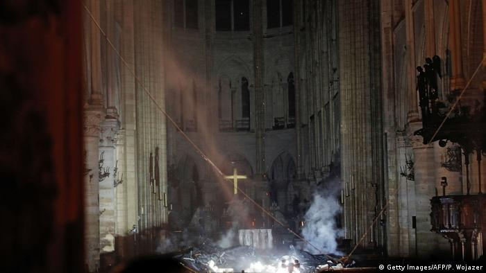 Interior of Notre Dame Cathedral in Paris after fire (Getty Images/AFP/P. Wojazer)