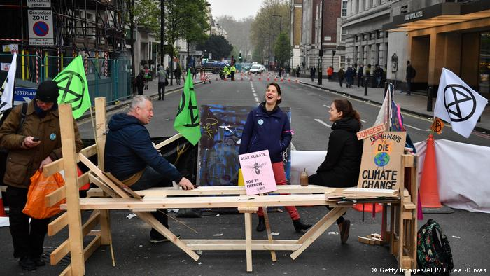 Ativistas do Extinction Rebellion em Londres