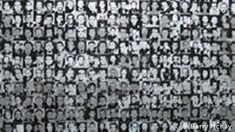 Wall of photos of Hungarian political prisoners