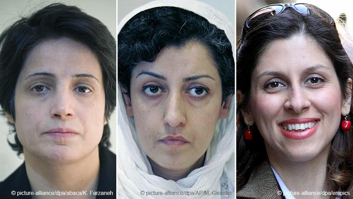 Profiles of three Iranian human rights activists (from left to right): Nasrin Sotoudeh, Narges Mohammadi, Nazanin Zaghari
