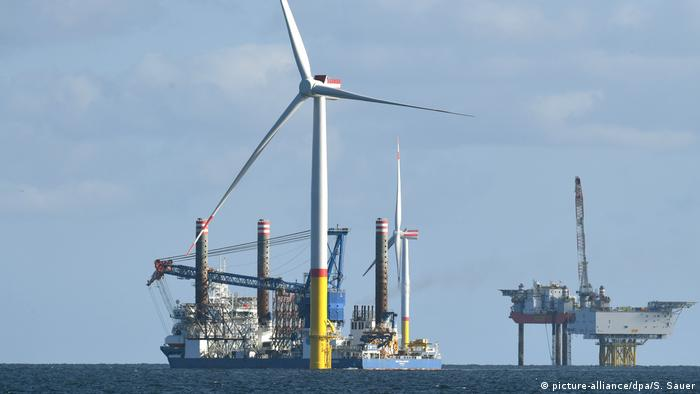 Offshore wind turbine being constructed in the Baltic Sea near the German island of Rugen.