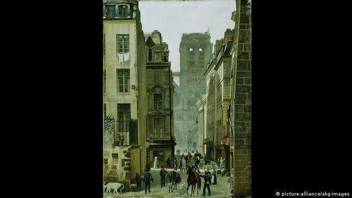 Notre Dame is seen through narrow streets in an oil painting (picture-alliance/akg-images)