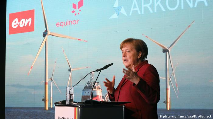 German Chancellor Angela Merkel inaugurates the Arkona wind farm in the Baltic