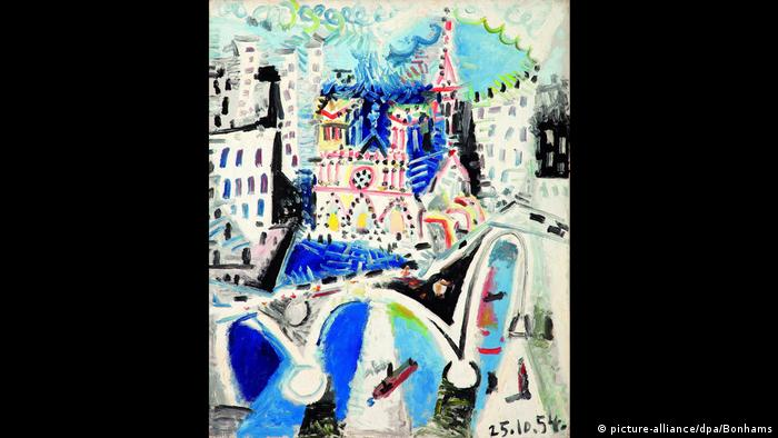 A brightly colored Notre Dame in a cubist style surrounded by plain buildings (picture-alliance/dpa/Bonhams)
