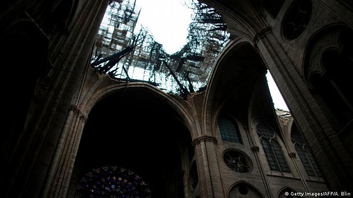 Catedral de Notre Dame de París luego del incendio.