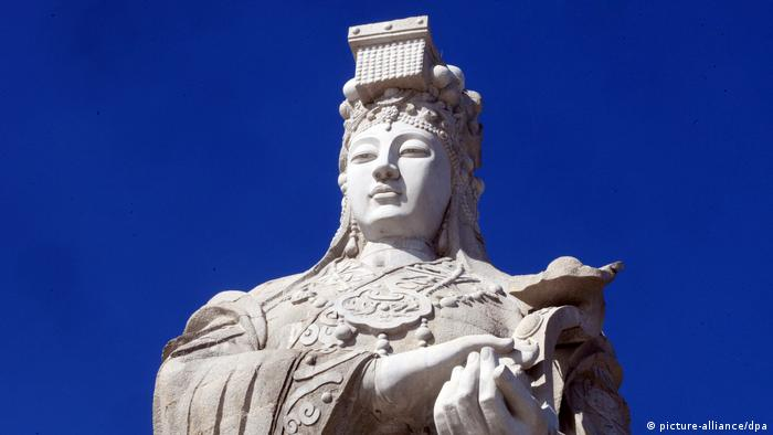 View of the worlds tallest statue of Mazu, goddess of the sea, in Tianjin, China