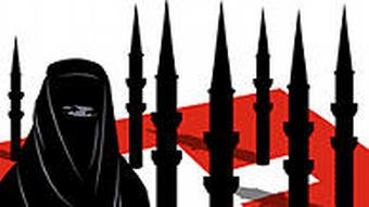 A picture released by the Swiss far right movement depicting a veiled Muslim with a host of black minarets standing atop a Swiss flag.