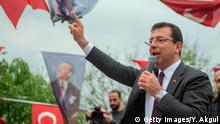 Main opposition Republican People's Party (CHP) mayoral candidate, Ekrem Imamoglu, waves to the crowd during a rally following local elections in Istanbul, on April 15, 2019. - Turkish President Recep Tayyip Erdogan called for authorities to cancel Istanbul mayoral election over alleged irregularities, local media reported on April 10. Erdogan's ruling Justice and Development Party (AKP) was dealt an upset on March 31 when the party lost the capital Ankara to the opposition as well as Istanbul, the country's largest city. (Photo by Yasin AKGUL / AFP) (Photo credit should read YASIN AKGUL/AFP/Getty Images)