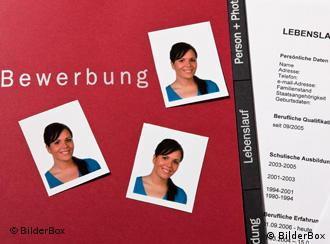 A German resume laid out with pictures