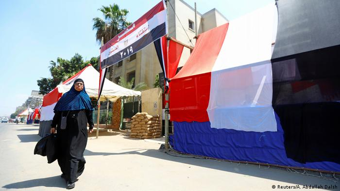 Egyptian flags covering polling booths