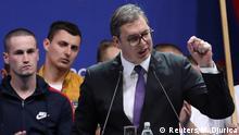 Serbien Kampagne von Präsident Aleksandar Vucic in Belgrad