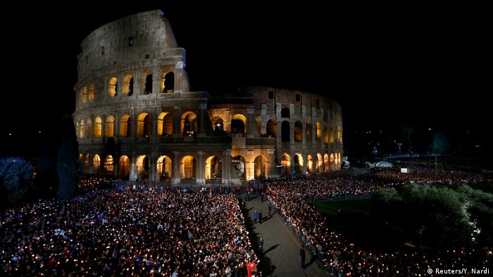 The Colosseum during the nighttime procession (Reuters/Y. Nardi)