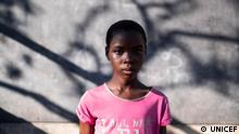 On 1 April 2019 in Mozambique, Olga Romao, 11, poses for a portrait in a classroom that has no roof at the Escola Primeria de Ndunda de Ndunda, in Manga, Beira. Mozambique. The school was badly damaged during Cyclone Idai and resumed activities in some of the classrooms on 27 March 2019. Tropical cyclone Idai, carrying heavy rains and winds of up to 170km/h (106mp/h) made landfall at the port of Beira, Mozambique's fourth largest city, on Thursday 14 March 2019, leaving the 500,000 residents without power and communications lines down. As at 1 pril 2019, at least 140,784 people have been displaced from Cyclone Idai and the severe flooding. Most of the displaced are hosted in 161 transit centers set up in Sofala, Manica, Zambezia and Tete provinces. As of 31 March, 517 cholera cases and one death have been reported, including 246 cases on 31 March alone with 211 cases from one bairo. Eleven cholera treatment centres (CTC) have been set up (seven are already functional) to address cholera in Sofala. UNICEF supported the Health provincial directorate to install the CTC in Macurungo and Ponta Gea in Beira city, providing five tents, cholera beds and medicines to treat at least 6,000 people. UNICEF has procured and shipped 884,953 doses of Oral Cholera Vaccine (OCV) that will arrive in Beira on 01 April to support the OCV vaccination campaign expected to start on 3 April. With support of UNICEF and DFID, the water supply system in Beira resumed its operations on 22 March providing water to about 300,000 people. UNICEF has been supporting the FIPAG-water supply operator with fuel – 9,000 liters of fuel per day, and the provision of chemicals for water treatment. Water supply systems for Sussundenga and Nhamatanda small towns have also been re-established.