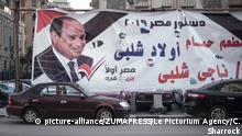April 17, 2019 - Cairo, Egypt - Billboards and panels are displayed in the streets of Cairo to encourage citizens to vote ''yes'' during the referendum of the 20th to the 22d of April about amendments in the Constitution.The latter could notably allow President Abdel Fatah al-Sissi's mandate to last until 2014, and institutionnalise the political role of the army. (Credit Image: © Chloe Sharrock/Le Pictorium Agency via ZUMA Press |