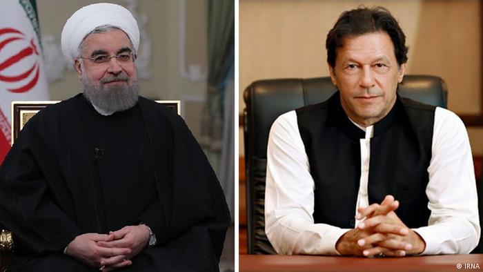 Pakistani PM Imran Khan (R) and Iranian President Hassan Rouhani