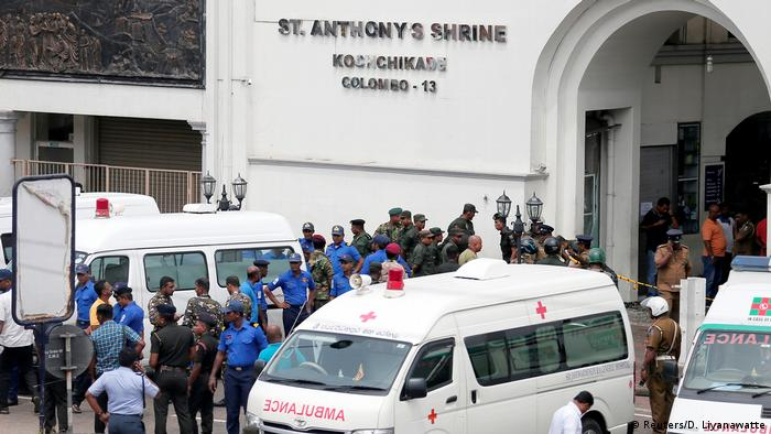 Ambulances in front of St. Anthony's Shrine (Reuters/D. Liyanawatte)