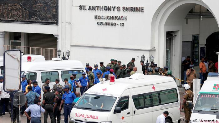 Ambulances in front of St. Anthony's Shrine