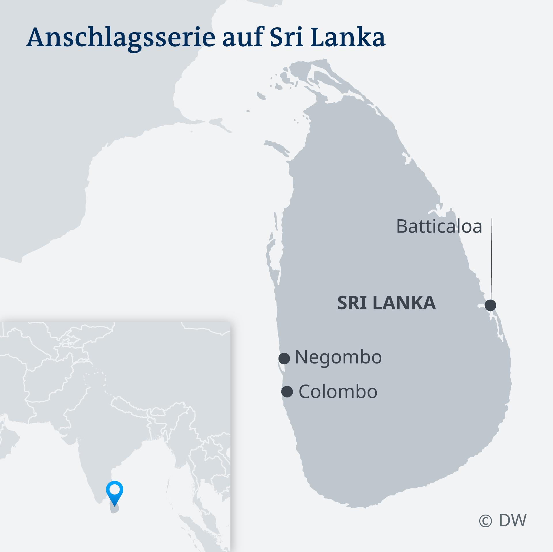 Die Angriffe ereigneten sich im Zentrum und Vororten der Hauptstadt Colombo und zwei weiteren Orten