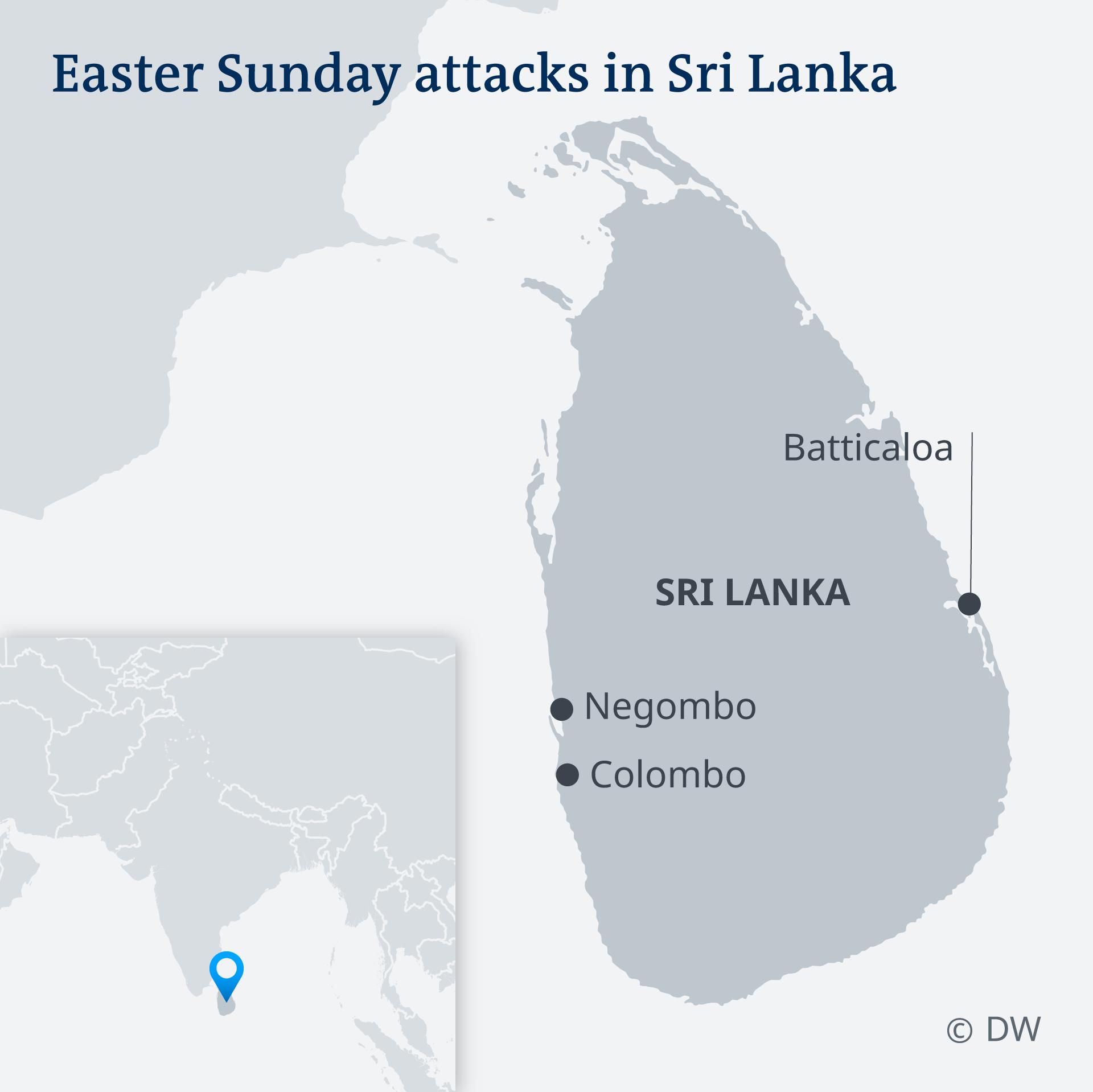 Infografik Karte Anschlagsserie auf Sri Lanka EN