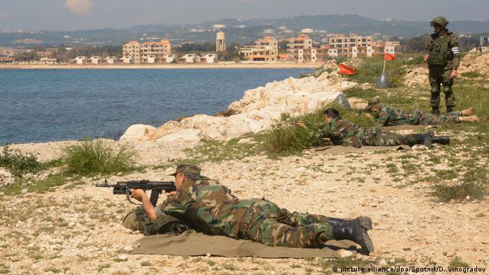 Российские и сирийские военные проводят учения на базе ВМФ РФ в Тартусе