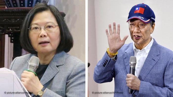 Kombobild Taiwanesische Präsidentin Tsai Ing-wen und ihrem Herausforder Terry Gou