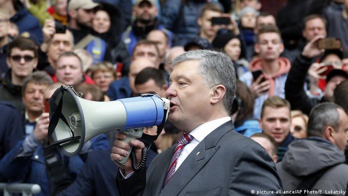 Wahlkämpfer Petro Poroschenko vor Anhängern in Kiew
