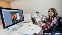 A volunteer of a team managing social media pages of Ukrainian comic actor and presidential candidate Volodymyr Zelenskiy works at their election campaign office in Kiev, Ukraine April 3, 2019. Picture taken April 3, 2019. REUTERS/Valentyn Ogirenko