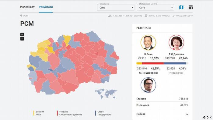 Screenshot Nord-Mazedonien Präsidentschaftswahl (DIK)