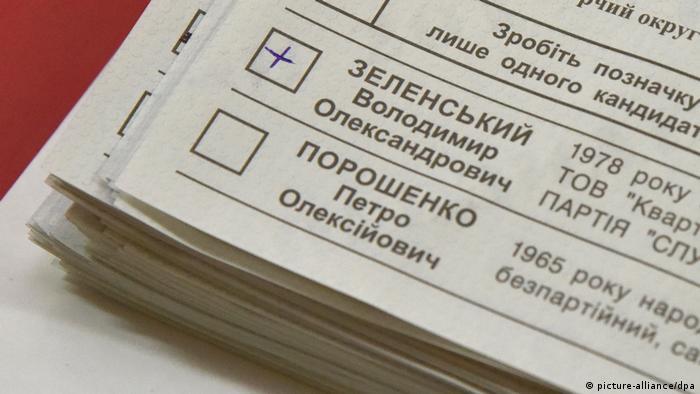 Ukrainischer Wahlzettel mit Stimme für Wolodymyr Selenskyj