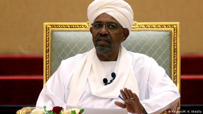 Former Sudanese President Omar al-Bashir speaks at an event