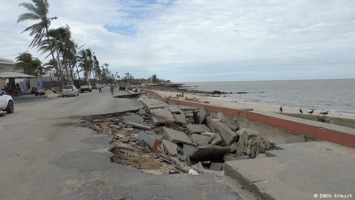 A road which has crumbled on the esplanade in Beira