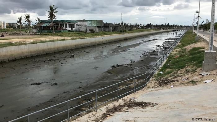 A muddy canal-like structure in Beira after the cyclone